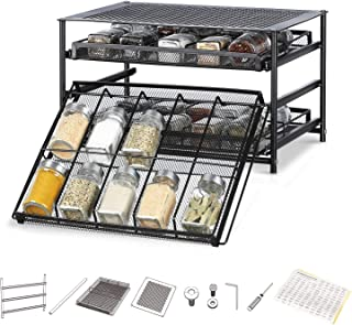 NEX 3 Tier Standing Spice Rack Kitchen Countertop Storage Organizer, Adjustable Shelf Pull Out Spice Rack Slide Out Cabinet for Spice Jars Glass Empty Cabinets, Holds 18,24,30 Jars (Brown, 30 Jars)