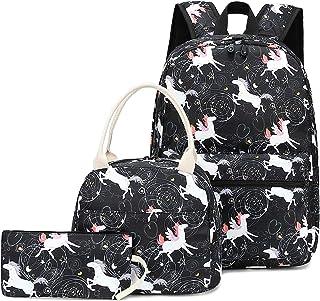 CAMTOP Teens Backpack for School Boys Girls School Bookbag Set Travel Daypack (Y0018-3/Unicorn Black)