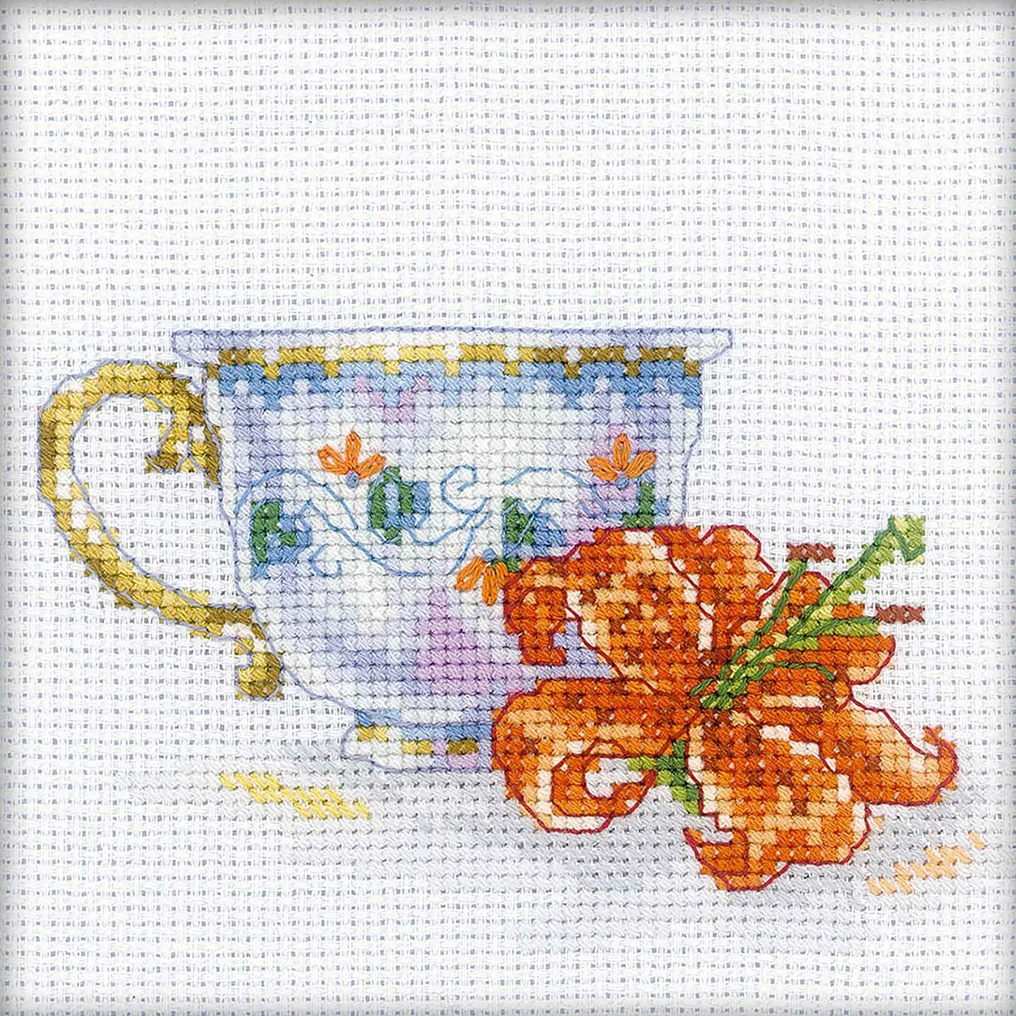 RTO EH308 14 Count Lily Tea Party Counted Cross Stitch Kit, 4.75 by 4.75-Inch