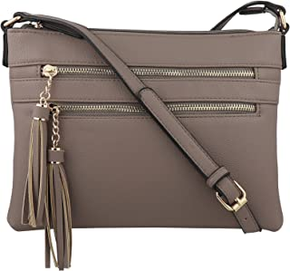 Vegan Multi-Zipper Crossbody Handbag Purse with Tassel Accents