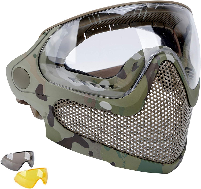 SGOYH Máscara táctica de paintball para airsoft CS Wargame BB Guns de protección integral de malla de acero con gafas para casco rápido