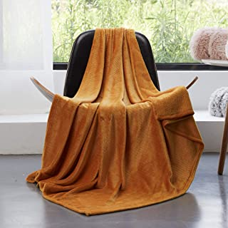 GONAAP Ultra-Soft Thermal Cozy Lightweight Throw Flannel Reversible Blanket for Couch Bed Sofa Yellow