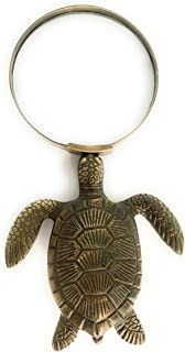 Madison Bay Company Magnifying Glass with Brass Sea Turtle Handle, 6.75 Inches Long