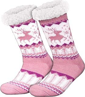 Compagno, calcetines amorosos con ABS suela antideslizante calcetines de invierno mujer hombre calcetines 1 par talla única, Color:Rosa fucsia