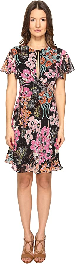 Flower Power Print Flutter Sleeve Dress