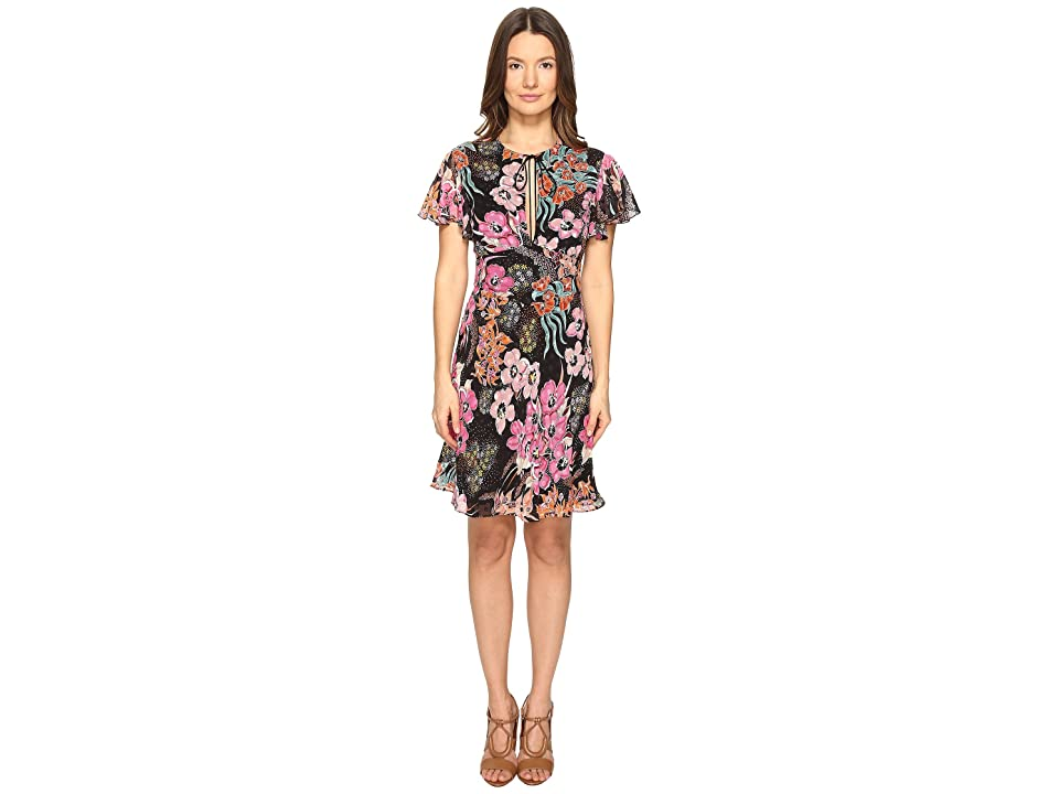 Just Cavalli Flower Power Print Flutter Sleeve Dress (Black Variant) Women