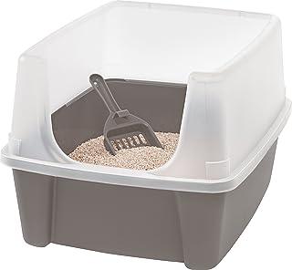 Iris Ohyama, arena para gatos con pala - Cat Litter Box - plástico, castaño, 38 x 48,5 x 30,5 cm