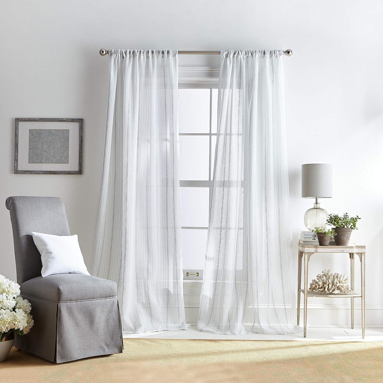 Amazon Com Martha Stewart Hampton Stripe Sheer Rod Pocket Single Curtain Panel 84 Inch Grey Home Kitchen