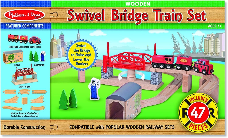 Melissa & Doug Swivel Bridge Train Set (English Only)