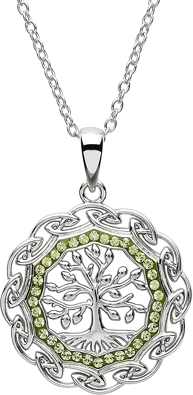 Platinum Plated Luxury goods Tree of Life Pendant and New life Peridot Clear with Swar