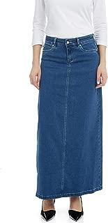 Women's Denim Maxi Skirt- A-Line Stretch Jean - Georgia