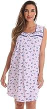 Dreamcrest 100% Cotton Sleeveless Night Gown for Women Cute Floral Summer Sleep Dress