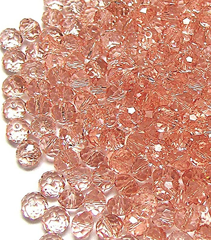 Linpeng 6mm Faceted Rondelle Pink (300pcs) Crystal Glass Beads,