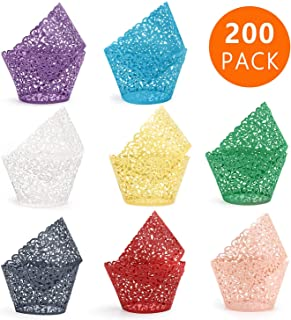 200 Pcs Cupcake Wrapper, Lace Cupcake Liners, HULISEN Laser Cut Cake Paper Cup for Wedding, Baby Shower, Birthday, Party