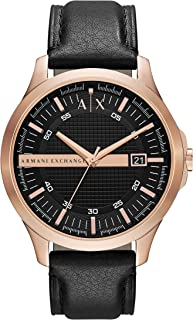 A|X Men's Black Leather Watch AX2129
