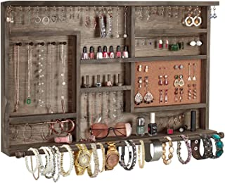 X-cosrack Large Rustic Jewelry Organizer Wall Mounted, Wooden Hanging Jewelry Cabinet Holder Rack Hanger with Removable Bracelet Rod, Jewelry Display for Necklaces Bracelet Earrings Ring,Vintage