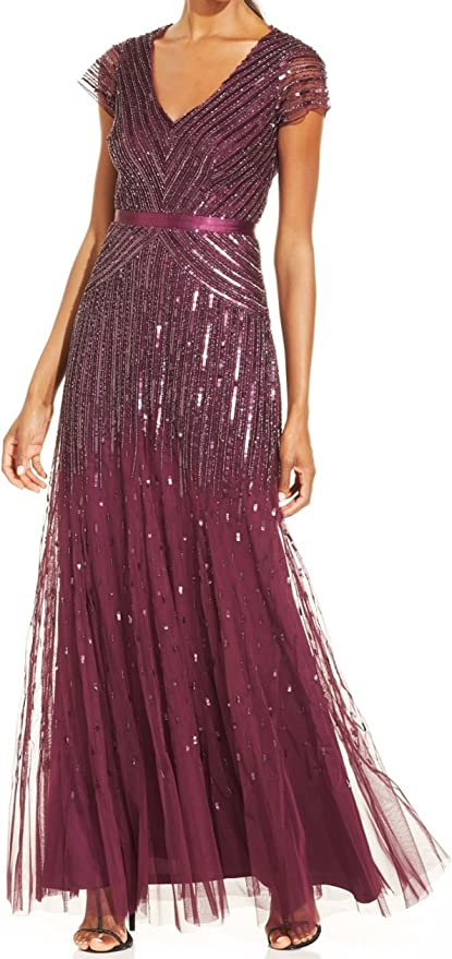 Vintage 1920s Dresses – Where to Buy Adrianna Papell Womens Long Beaded V-Neck Dress With Cap Sleeves and Waistband  AT vintagedancer.com