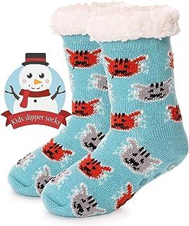 Boys Girls Slipper Socks Fuzzy Soft Warm Thick Heavy Fleece lined Christmas Stockings For Kid Child Toddler Winter Socks