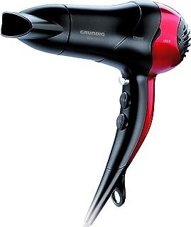 Grundig Premium Line HD 3700 - Secador de pelo, 1800 W, 2 velocidades, 3 niveles de temperatura, color negro/rojo