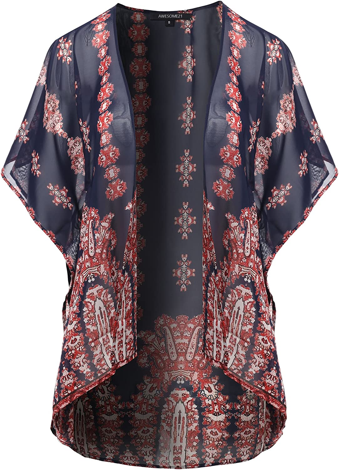 Awesome21 Women's Open Front Short Sleeves Floral Print Cardigan  Made in USA