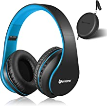 Bluetooth Headphones Wireless, Uomeod Over Ear Stereo Headset V5.0 with Microphone, Foldable & Lightweight, Support Tf Card MP3 and FM Radio for Cellphones Laptop TV (Blue)