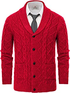 VITryst-Men Woven Marled Cable Oversize Pullover Pullover Sweater