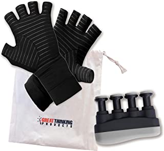 Copper Compression Arthritis Gloves - Plus Hand And Finger Exerciser and Strengthener – Premium Kit Combines Pain Relief W...