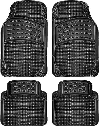 popular OxGord Brick-Style All-Weather 2021 Rubber Floor-Mats - Waterproof Protector for Spills, Dog, Pets, Car, SUV, Minivan, Truck - 2021 4-Piece, Black online sale