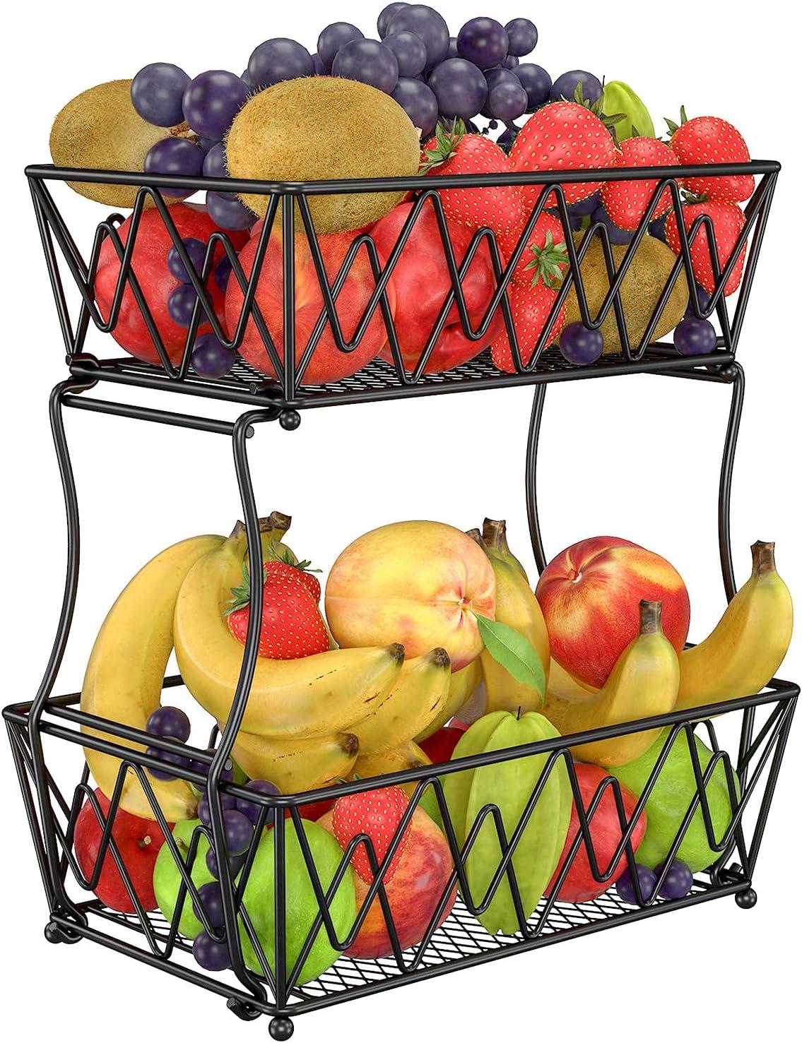 Frutero de 2 pisos, gran capacidad, decorativo, fácil de desmontar y de usar independientemente, se puede utilizar para colocar frutas, verduras, pan de metal, color negro, 29 x 19 x 33 cm