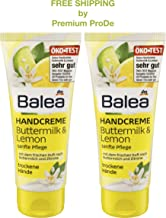 Balea Hand Cream Buttermilk & Lemon with Panthenol and Olive Oil 2 x 100 ml, Germany