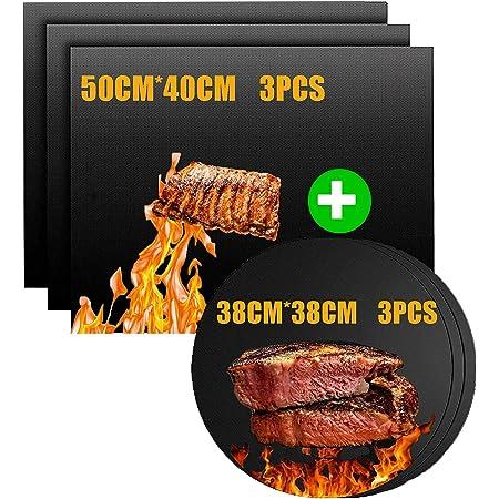 Nifogo Tapis de Barbecue, Feuilles de BBQ Anti-Adhérent, Feuille de Cuisson Teflon, Set de 6 Rectangle Et Cercletapis Cuisson Barbecue 50X40CM & 38CM , Noir