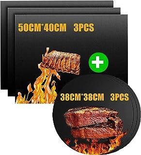 Nifogo Tapis de Barbecue, Feuilles de BBQ Anti-Adhérent, Feuille de Cuisson Teflon, Set de 6 Rectangle Et Cercletapis Cuis...