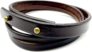 Leather Bracelet For Men, Simple European and American Retro Style Two Ring Black & Brown Leather Bracelet For Men & Women