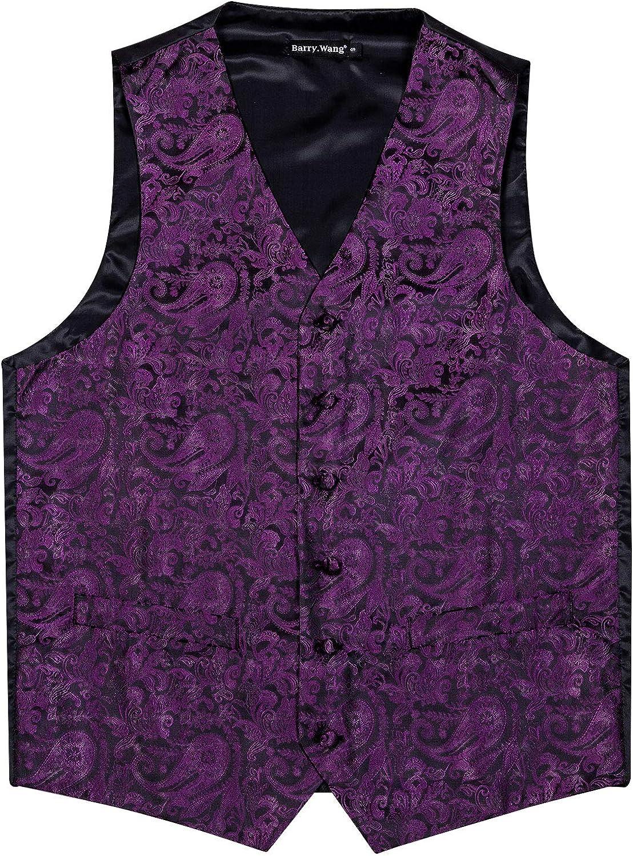 Barry.Wang Men Paisley Dress Vest with Bow Tie, Necktie Pocket Hanky Design Suit Waistcoat Formal