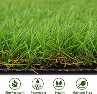 Artificial Grass Turf Lawn - Fake Grass Mat Thick Synthetic Turf Rug Indoor Outdoor Carpet Garden Lawn Landscape Rubber Backed with Drainage Holes, High Density, Height 1.38inch (11.5inch x 9inch)