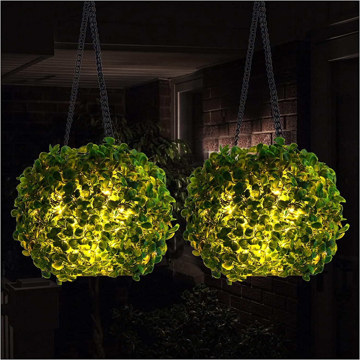 2 Pcs Solar Lighted Hanging Balls- Artificia LED Topiary Free Shipping New Boxwood free