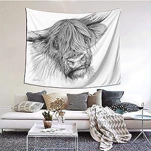 ZVEZVIZVEZVI Tapiz, tapices de Pared de Lona con Retrato de una Vaca de Las Tierras Altas, Tela Decorativa de Interior para Colgar en la Pared para Sala de Estar, Dormitorio, 60 x 51 Pulgadas