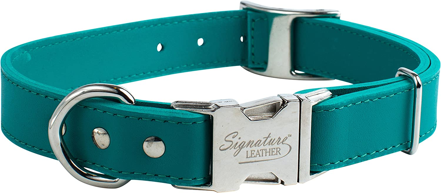 OmniPet 6109EG KwikKlip Signature Leather Adjustable Dog Collar, Emerald, 1216