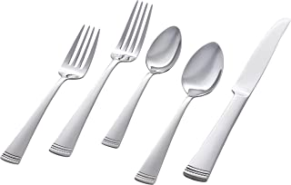 Stone & Beam Traditional Stainless Steel Flatware Silverware Set, Service for 4, 20-Piece, Silver with Dotted Trim