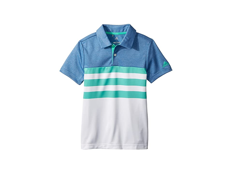 Image of adidas Golf Kids 3-Stripe Fashion Polo (Big Kids) (Hi-Res Green) Boy's Clothing