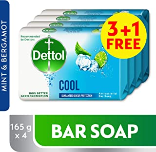 Dettol Cool Anti-bacterial Bar Soap 165g 3+1 Free