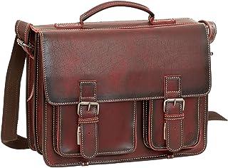 Greenburry Aktentasche Leder Schultasche XL Lehrertasche Tasche New Buffalo rot Damen Herren Schule Uni Arbeit