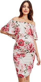 HELLO MIZ Women's Floral Ruffle Off Shoulder Maternity Dress - Made in USA (X-Large, Ivory Floral)