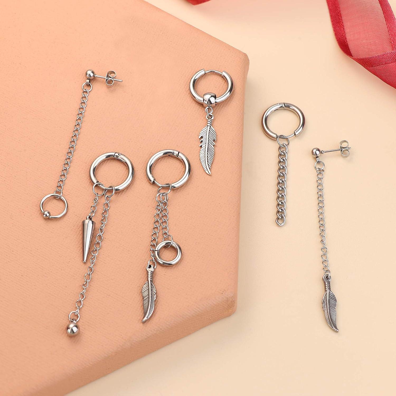 Thunaraz 18Pcs Dangle Earrings for Men Women Stainless Steel CZ Ball Stud Earrings Feather Long Chain Pendant Kpop Hoop Earrings Piercing Set,Black and Silver