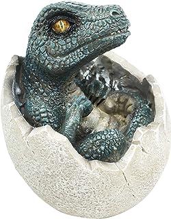 Jurassic Era Predator Velociraptor in Egg Dinosaur Figurine Hatchling Collectible Sculpture