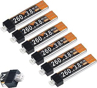 6個 260mAh HV 1S リポバッテリー 30C 3.8V JST-PH 2.0 Powerwhoopコネクタ mCPX Tiny Whoop マイクロFPVレーシングドローン用