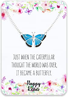 Butterfly Necklace Gift – Cute Butter Fly Pendant – Charm Jewelry for Women, Girls and Kids – with Message Card