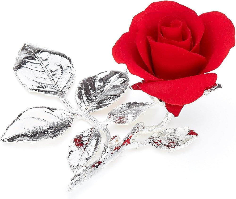 Rosa rossa in porcellana  , su rametto in peltro argentato