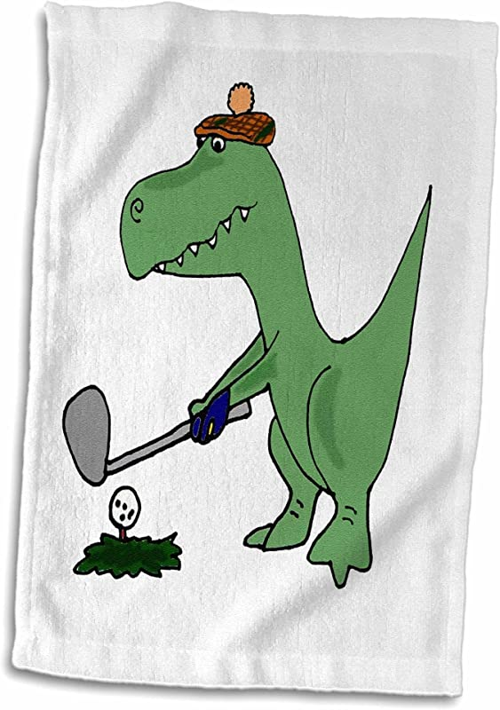 3D Rose Funny Green Trex Dinosaur Playing Golf TWL 203784 1 Towel 15 X 22 Multicolor