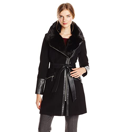 baa06c82e92 Via Spiga Women s Kate Mid-Length Belted Wool Assymetric Zip Front Coat  with Fur Collar